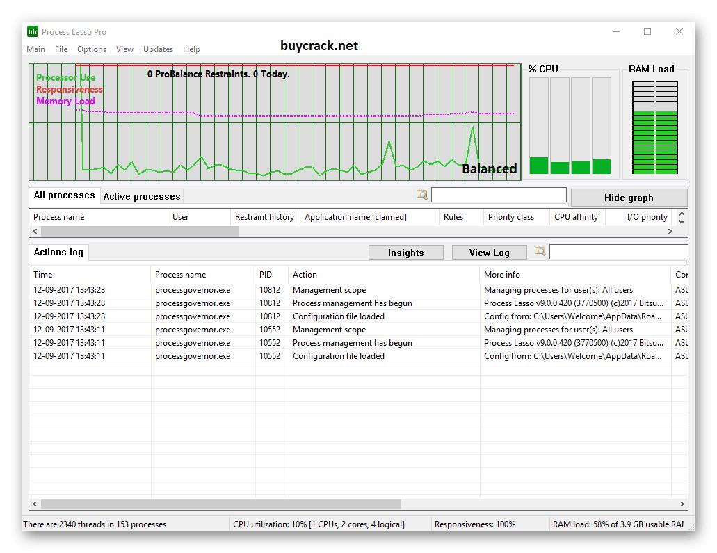 Process Lasso Pro 10.3.0.50 Crack Latest
